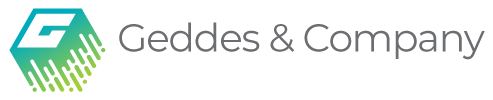 Geddes & Company logo - stylized block letter g and text